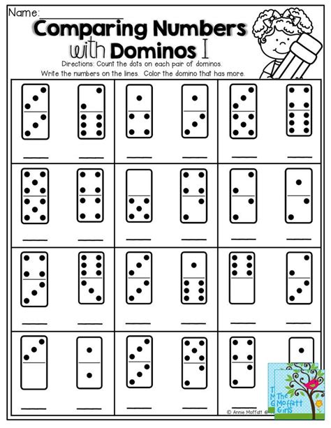 Comparing Numbers! Count The Dots On The Domino, Write The Number, Color The Domino That Has