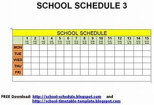 Schedule for school - printable template: School schedule 3