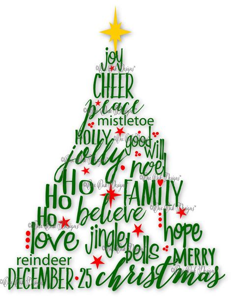 christmas tree decorated whith words tree svg file pdf dxf jpg png