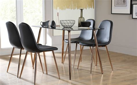 horizon black glass dining table with 4 chairs
