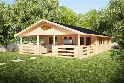 Two Bedroom Log Cabin Holiday F 50m2  7 x 12 m 70mm