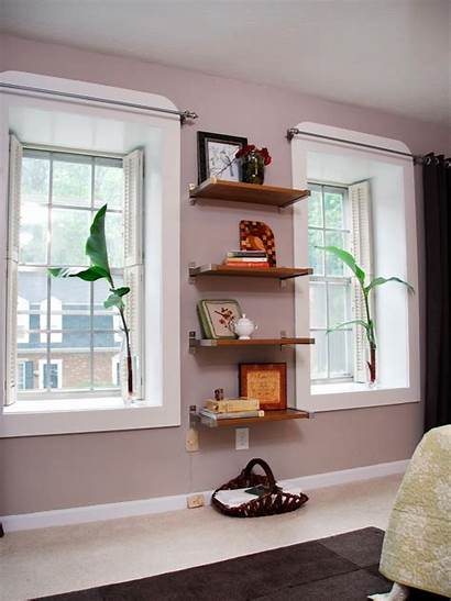 Shelves Floating Between Windows Window Shelving Hgtv
