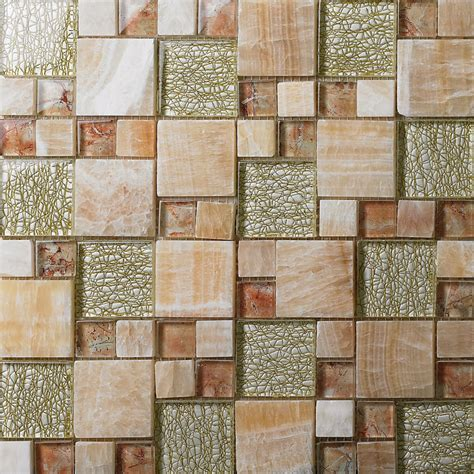 glass mosaic wall tiles natural stone mixed crystla glass