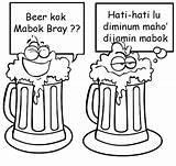 Beer Mug Coloring Pages Indonesian Funny Drawing Template sketch template