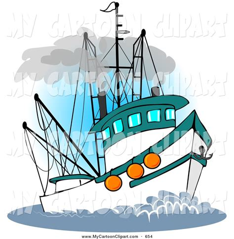 Fishing Boat Cartoon by Clip Art Of A Trawler Fishing Boat Sailing At Sea By Djart