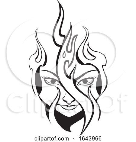 black  white tribal womans face  flames tattoo