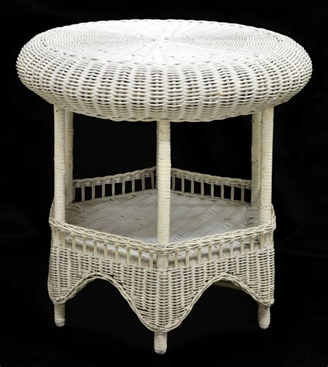 white wicker outdoor side or coffee table 20th c april