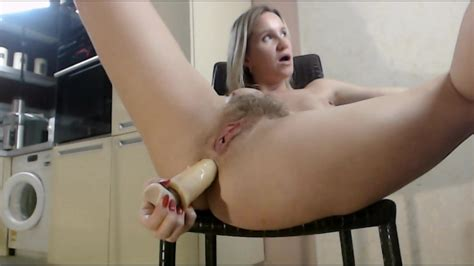 Hairy Pussy Wife Fucks Her Asshole With Toy On Chair