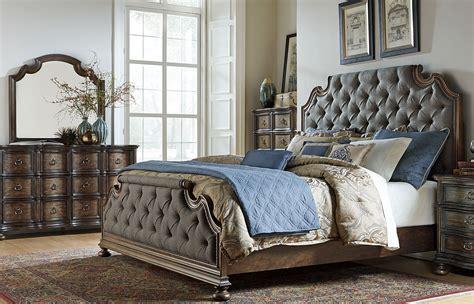 tuscan valley weathered oak upholstered panel bedroom set