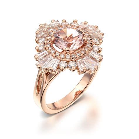 unique engagement ring 18k gold diamonds and morganite