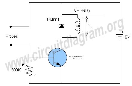 Water Liquid Level Sensor Relay Switch Circuit Diagram