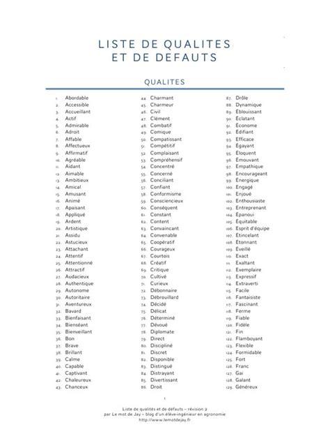 liste one aper 231 u du fichier liste de qualit 233 s et de d 233 fauts pdf page 1 3
