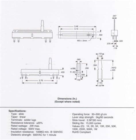 alpha slide pot slide travel 60mm linear 500k solder