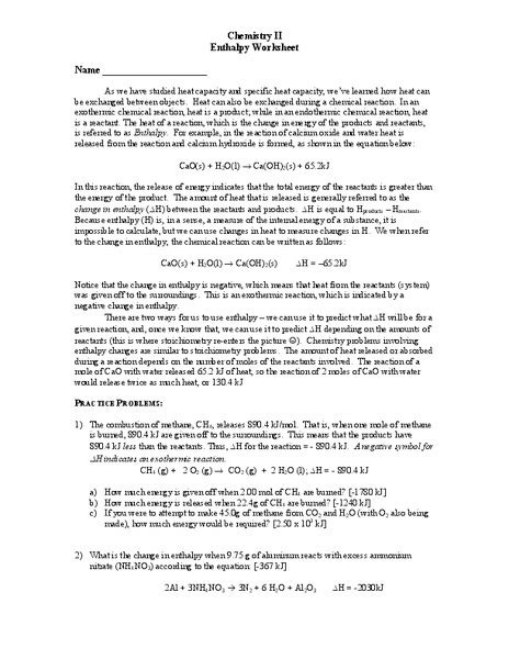 Chemistry Ii Enthalpy Worksheet Worksheet For 11th  12th Grade  Lesson Planet