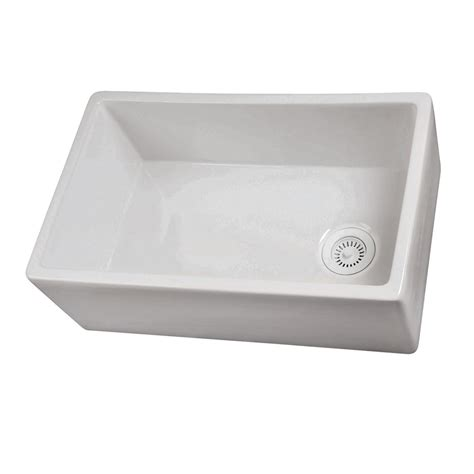 farmhouse kitchen sink lowes shop barclay 17 5 in x 29 75 in white single basin
