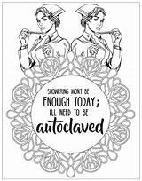 Coloring Nurse Adult Nursing Nurses Printable Male Bathroom Word Communiti Snarky sketch template