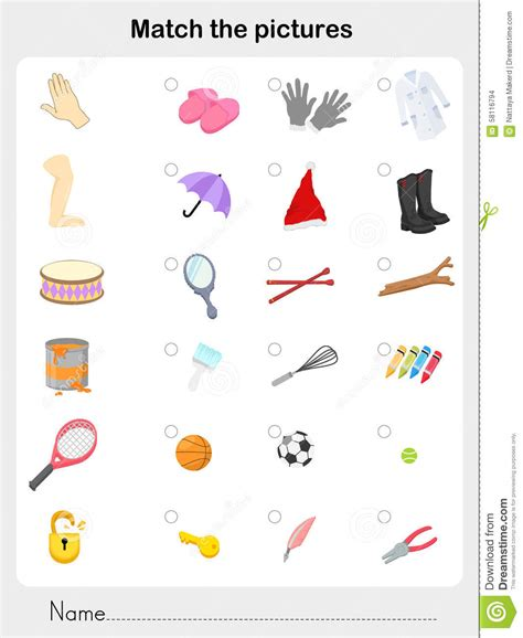 Match Object  Worksheet For Education Stock Vector  Image 58116794