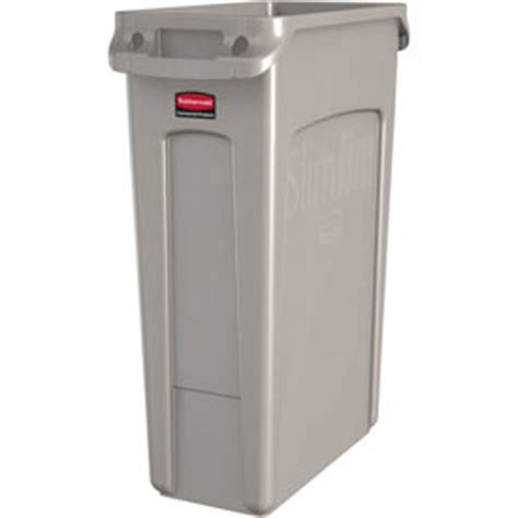 rubbermaid slim jim storage shed shelves garbage can recycling plastic indoor 23 gallon