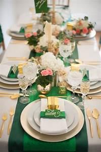 decoration de table de mariage en emeraude et blanc With salle de bain design avec décoration anniversaire de mariage noce d or