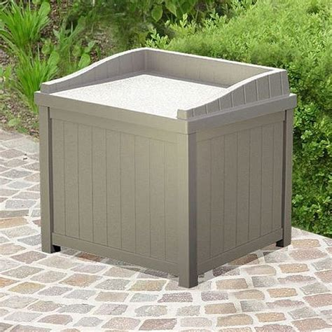 Suncast Small Deck Box by Suncast Plastic Small Deck Box With Seating 2 X 2 Taupe