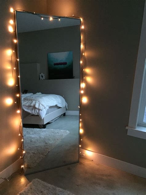 mirror  string lights   home