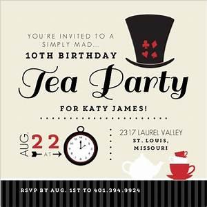 tan mad hatter tea party birthday invitation kids With mad hatter tea party invitation template free