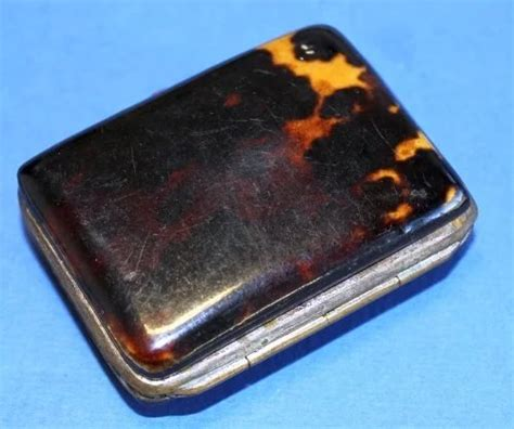 tortoise shell small snuff box sterling design  monogram  swan collection ruby lane