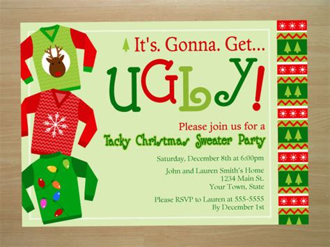 custom ugly christmas sweater party invitation digital