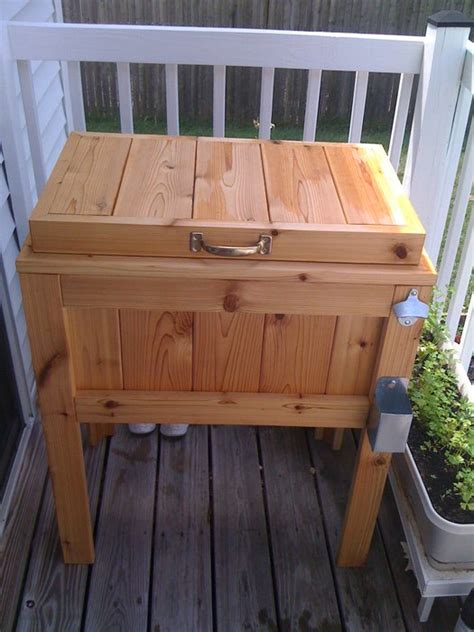 cooler on wooden chest patio cooler and