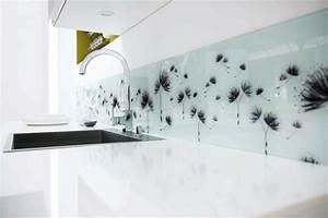 credence cuisine adhesive sur mesure verre trempe en With carrelage adhesif salle de bain avec par led zoom