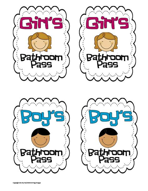 Bathroom Pass Ideas For Kindergarten by 7 Best Images Of Printable For Bathroom Passes Students