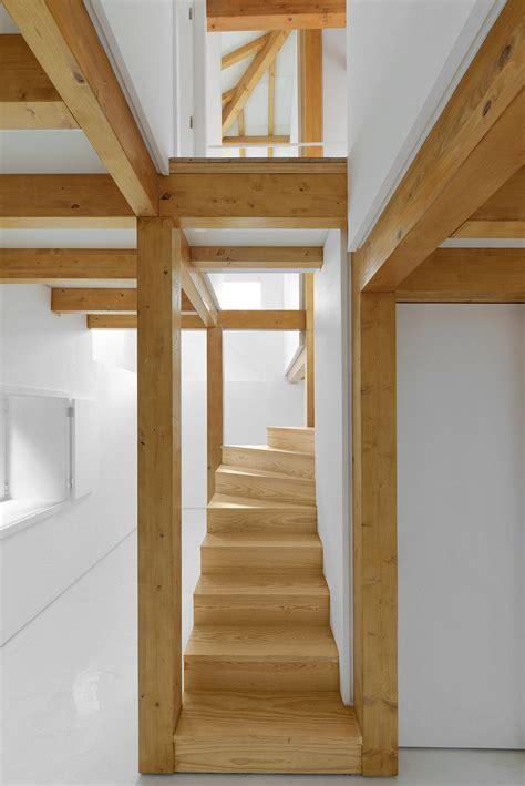 ancient rural stone house  modern interior wood