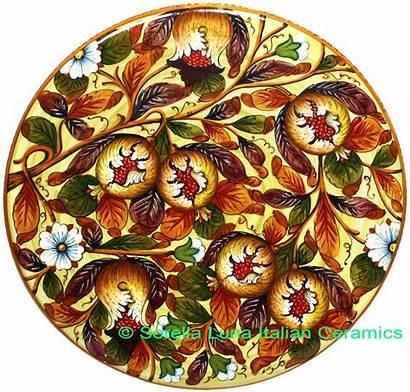 Ceramic Tuscany Plate Majolica Pomegranate 52cm Italian