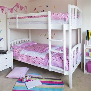 modern and great white bunk beds using purple bedding for With interior designing bedroom for girls