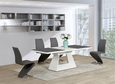 white glass high gloss extending dining table   grey