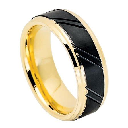 dainty jewelry 8mm comfort fit tungsten carbide wedding band stepped edge gold tone inside