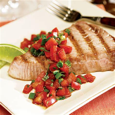 how to grill tuna steaks grilled tuna steak with fresh salsa recipe myrecipes