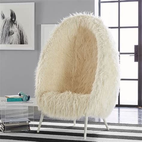 Ivory Furlicious Faux Fur Cave Chair   NYC Girls' Bedroom