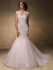 fit and flare v neck lace wedding dresses with illusion With fit and flare wedding dress with sleeves