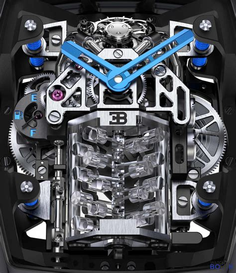 Efficiently decorated with blue color, the fake watches interpret the chic and uniqueness. Điên cuồng với động cơ W16 trong Jacob & Co. Bugatti Chiron Tourbillon