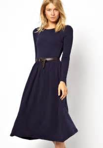 purple plain pleated below knee cotton blend elegant dress