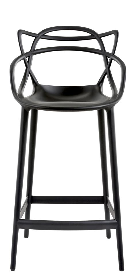 chaise de bar design chaise de bar masters h 65 cm polypropylène noir kartell