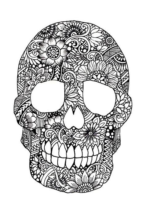 botanical suger skull  coloriage