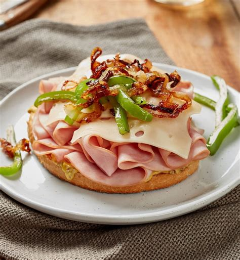 Once the soup has thickened, add in 8 ounces diced ham and 4 ounces grated gruyere. Open-faced Ham, Swiss and Dijon Sandwich - Pillers