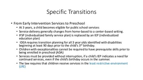 transition from early intervention to preschool planning transitions to support inclusion 106