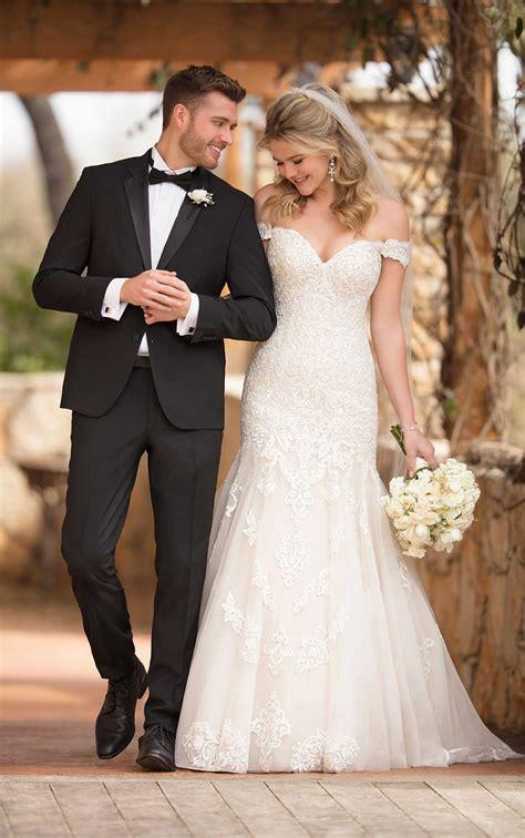 vintage   shoulder wedding gown essense