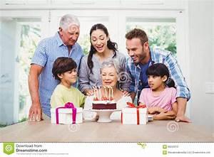 Happy Family During Birthday Party Of Granny Stock Photo ...