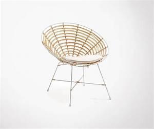 Fauteuil Rotin Design : fauteuil lounge rotin structure m tal blanc et coussins inclus ~ Nature-et-papiers.com Idées de Décoration