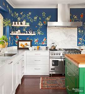 16 creative ways to use wallpaper in the kitchen for Best brand of paint for kitchen cabinets with wall art chandelier