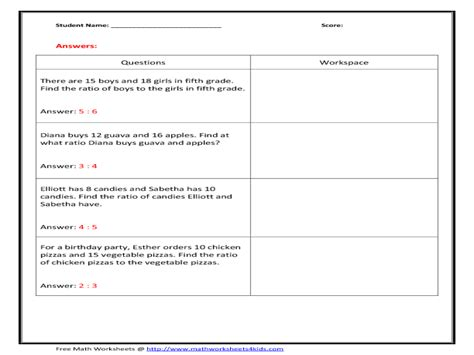 6th Grade Math Worksheets Ratios  Ratio Worksheetsratio Word Problems Worksheet 6th Grade